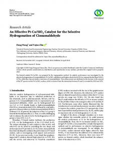 An Effective Pt-Cu/SiO2 Catalyst for the Selective Hydrogenation of ...