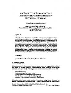 an effective tokenization algorithm for information ... - Semantic Scholar