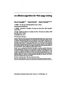 An efficient algorithm for Web usage mining - Semantic Scholar