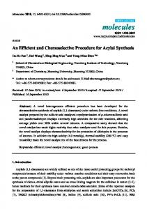 An Efficient and Chemoselective Procedure for ... - Semantic Scholar