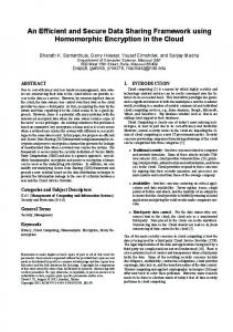 An efficient and secure data sharing framework ... - ACM Digital Library