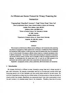 An Efficient and Secure Protocol for Privacy Preserving Set Intersection
