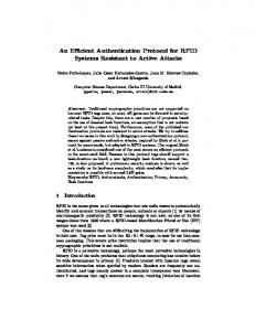 An Efficient Authentication Protocol for RFID ... - Semantic Scholar