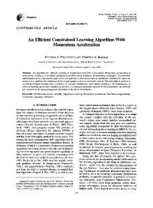 An Efficient Constrained Learning Algorithm With ... - CiteSeerX