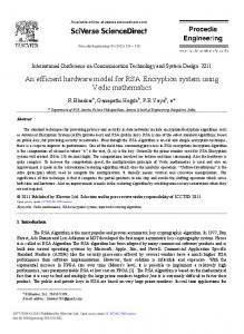 An efficient hardware model for RSA Encryption ... - ScienceDirect.com