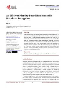 An Efficient Identity-Based Homomorphic Broadcast Encryption