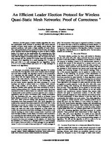 An Efficient Leader Election Protocol for Wireless ... - Semantic Scholar