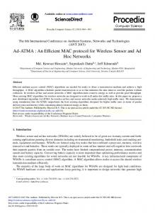An Efficient MAC protocol for Wireless Sensor and Ad Hoc Networks