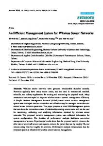 An Efficient Management System for Wireless Sensor Networks
