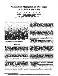 An Efficient Mechanism of TCP-Vegas on Mobile IP Networks