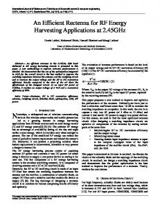 An Efficient Rectenna for RF Energy Harvesting Applications at 2.45GHz
