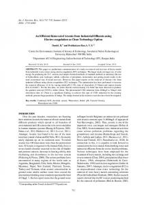 An Efficient Removal of Arsenic from Industrial Effluents using Electro