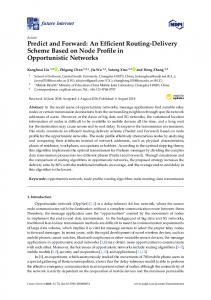 An Efficient Routing-Delivery Scheme Based on Node Profile ... - MDPI