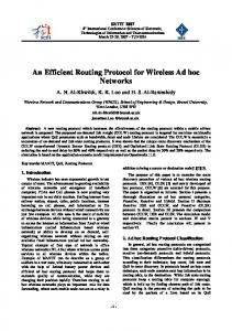An Efficient Routing Protocol for Wireless Ad hoc Networks - CiteSeerX