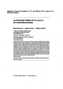 An Electronic Edition of Don Quixote for ... - Cervantes Project