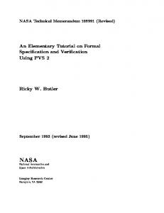 An Elementary Tutorial on Formal Speci cation and Veri ... - CiteSeerX