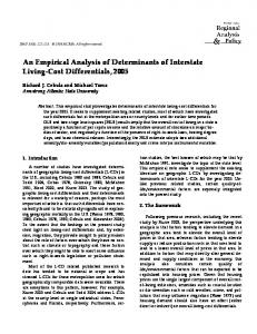 An Empirical Analysis of Determinants of Interstate ... - AgEcon Search