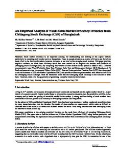An Empirical Analysis of Weak Form Market Efficiency: Evidence from ...