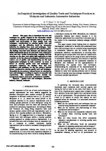 An Empirical Investigation of Quality Tools and ...