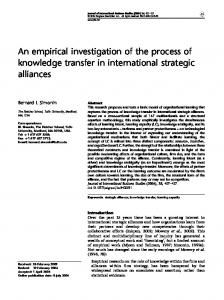 An empirical investigation of the process of knowledge transfer in ...