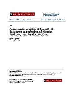 An empirical investigation of the quality of ... - Research Online - UoW