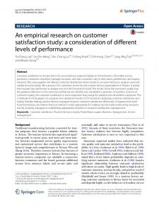 An empirical research on customer satisfaction study - Semantic Scholar