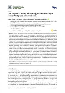 An Empirical Study Analyzing Job Productivity in Toxic ... - MDPI