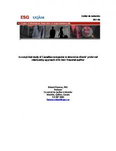 An empirical study of Canadian companies to determine clients ...