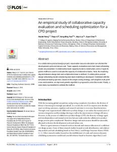 An empirical study of collaborative capacity evaluation and ... - PLOS