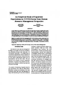 An Empirical Study of Expatriate Expectations in IT ... - Semantic Scholar