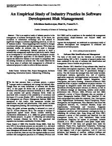 An Empirical Study of Industry Practice in Software Development Risk ...