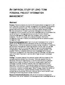an empirical study of long-term personal project information ...