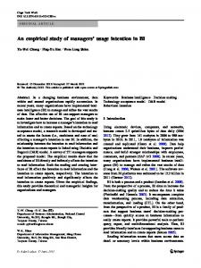 An empirical study of managers' usage intention in BI