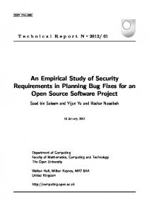 An Empirical Study of Security Requirements in ... - Technical Reports