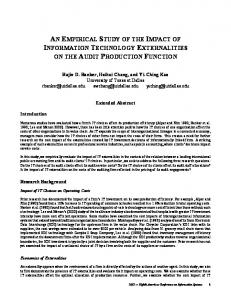 An Empirical Study of the Impact of Information ... - CiteSeerX