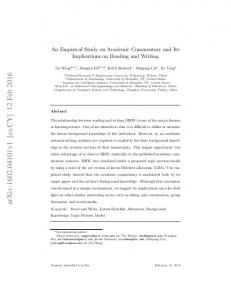 An Empirical Study on Academic Commentary and Its Implications on ...