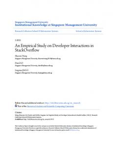 An Empirical Study on Developer Interactions in ... - Semantic Scholar