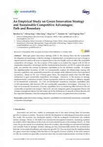 An Empirical Study on Green Innovation Strategy and ... - MDPI