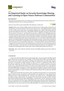 An Empirical Study on Security Knowledge Sharing and ... - MDPI