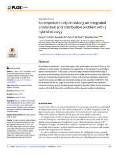 An empirical study on solving an integrated production and ... - PLOS
