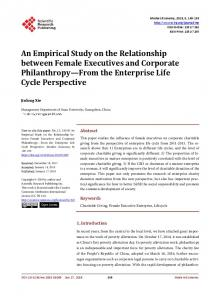 An Empirical Study on the Relationship between Female Executives ...