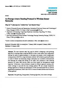 An Energy-Aware Routing Protocol in Wireless Sensor Networks - MDPI