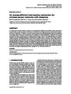 An energyefficient holehealing mechanism for ... - Semantic Scholar
