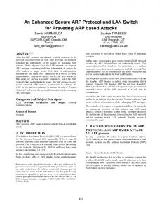 An enhanced secure ARP protocol and LAN ... - ACM Digital Library