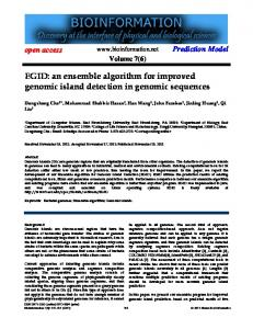 an ensemble algorithm for improved genomic island ... - Bioinformation