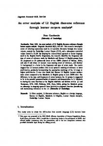 An error analysis of L2 English discourse reference through ... - ISLI