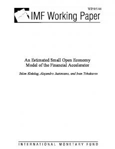 An Estimated Small Open Economy Model of the Financial ... - CiteSeerX