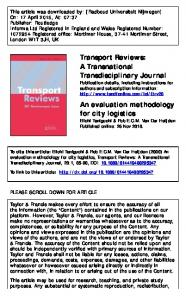 An evaluation methodology for city logistics