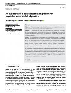 An evaluation of a pain education programme ... - Wiley Online Library