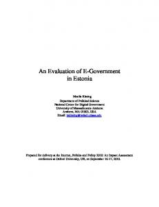 An Evaluation of E-Government in Estonia - The Internet, Policy ...